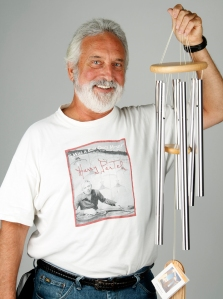 Garry wearing his Harry Partch T-shirt and holding the Chimes of Olympos