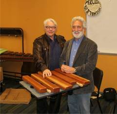 """Rick Kvistad (left) and Garry Kvistad (right) with home-made xylophone used to play """"Mallet Phase"""" by Steve Reich at the San Francisco Conservatory of Music December 6, 2013"""