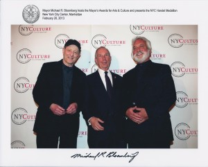 Steve Reich, NYC Mayor Bloomberg and me at the Mayor's 2013 Arts Awards