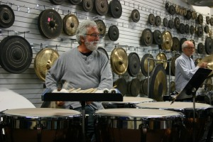 Garry on timpani at the rehearsal
