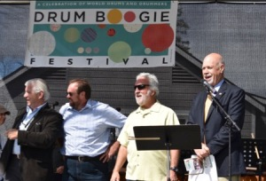 Drum Boogie Festival opening ceremony with Assemblyperson Kevin Cahill, Town Supervisor Bill McKenna, Festival Director Garry Kvistad,
