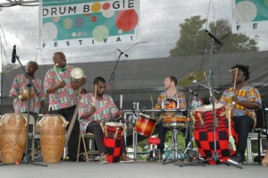 Northeast Ghana All-Stars performing traditional African music alongside percussionist Ben Paulding