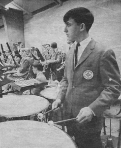 Garry as a high school sophomore playing timpani